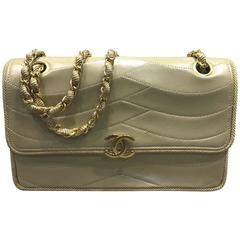 Chanel Early 90s Beige Lambskin Gold Chain Flap Bag