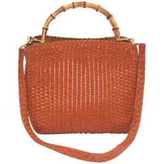 C.1990 Gucci Cognac Woven Leather Handbag With Bamboo Handle