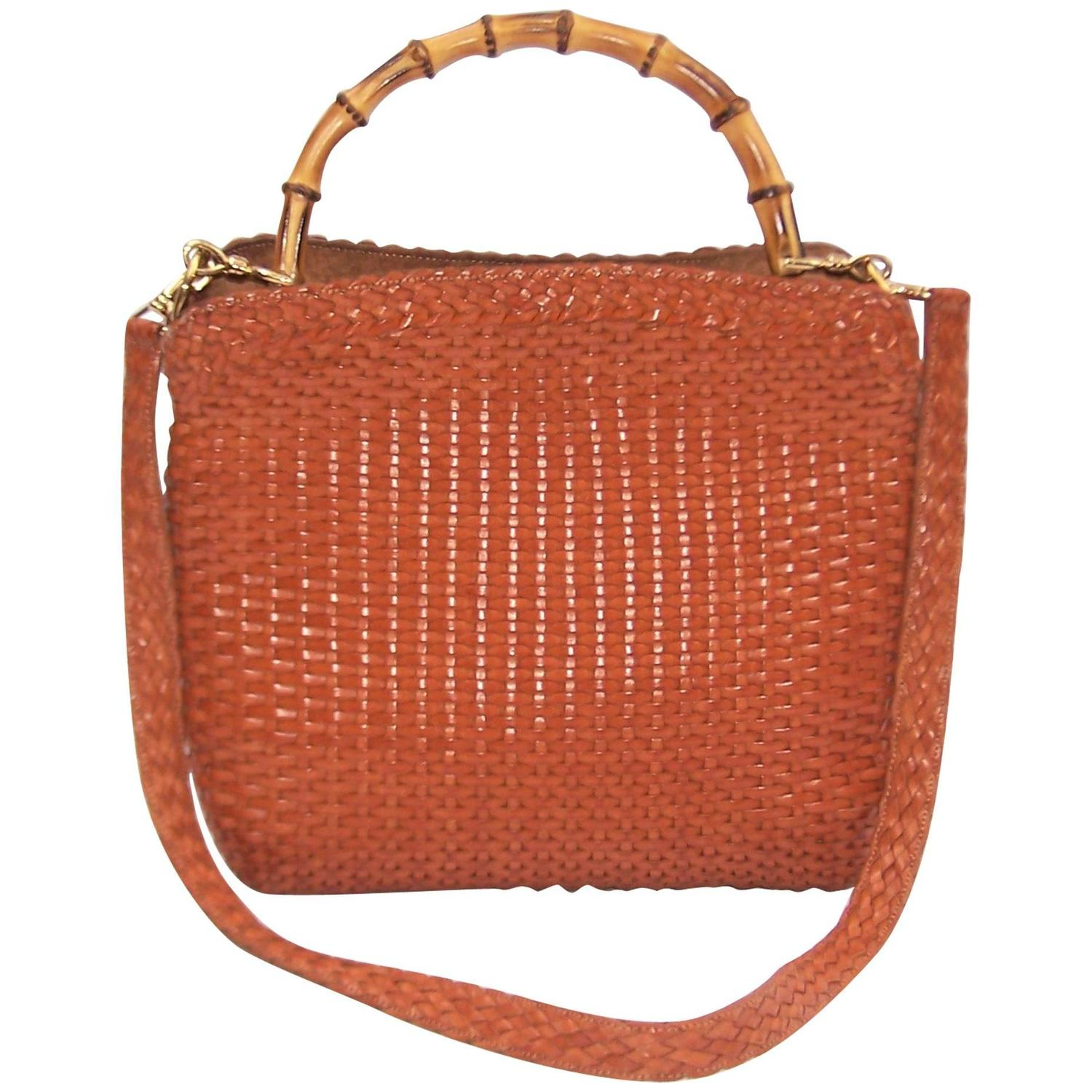 Lovely C.1990 Gucci Cognac Woven Leather Handbag With Bamboo Handle at  BQ94
