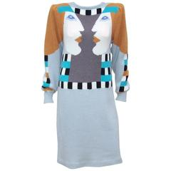 Whimsical 1980's Bob Mackie Pop Art Sweater Dress