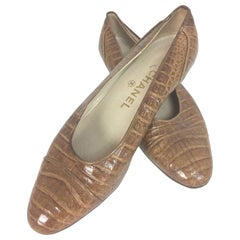 Vintage Chanel cognac crocodile shoes 38