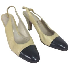 Vintage Chanel classic bone and black sling back pumps 38