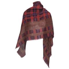 Yves St Laurent cashmere and silk mix plaid and print large shawl scarf 1990s