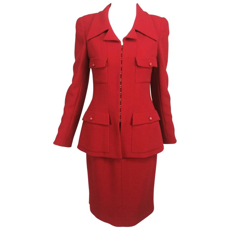 Vintage Chanel fire engine red wool military inspired suit 1996A