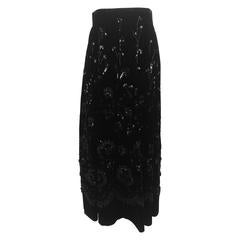Vintage hand made heavily embroidered and beaded black velvet skirt 1940s