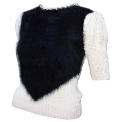 Pearl Embellished 1970's Black Angora Two Tone Sweater Top