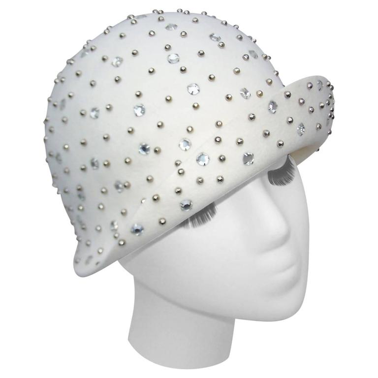 1970's Adolfo II Flapper Style Hat With Studs & Rhinestones