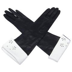 1950's Black Leather Mid Length Gloves With White Cuffs