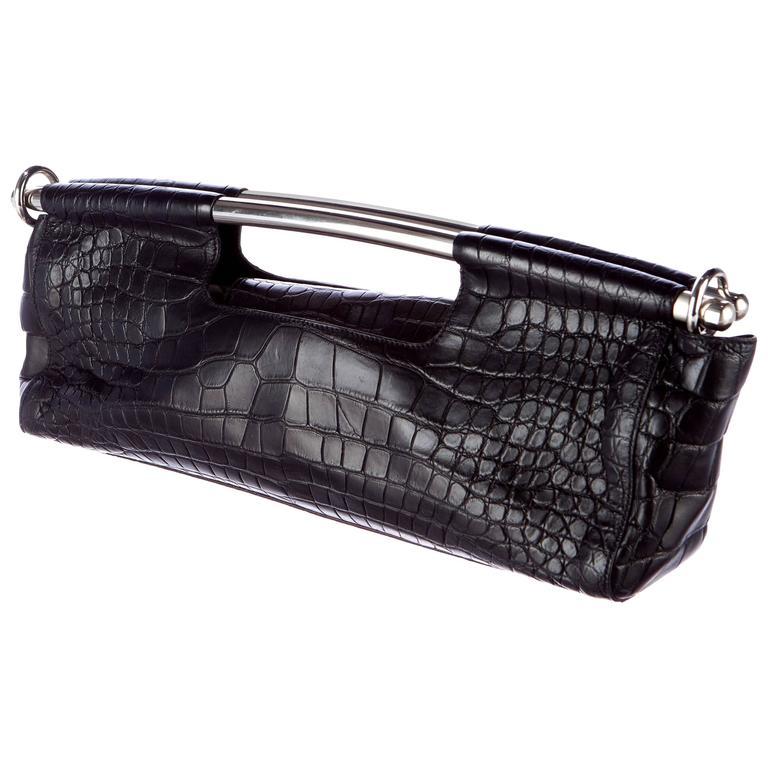 de3d89532732 Amazing Black Prada Alligator Skin Handbag XL Clutch at 1stdibs