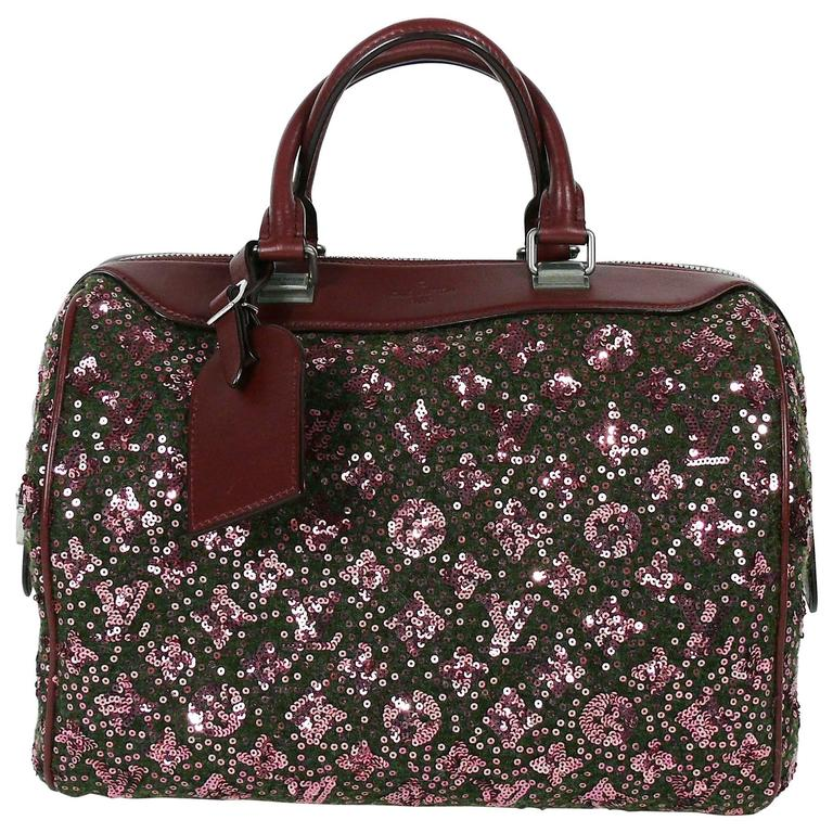Louis Vuitton Speedy Sunshine Express Burgundy Sequin Monogram Limited Edition For Sale