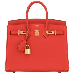 Hermes Capucine Baby Birkin Red Orange 25cm Togo Gold Hardware Darling
