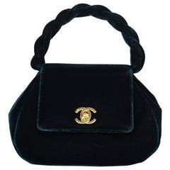Chanel Green Velvet Small Top Handle Evening Bag GHW