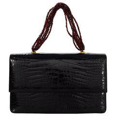 Darby Scott Black Glazed Alligator Garnet Necklace Evening Bag rt. $8,250
