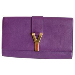 Yves Saint Laurent Cabas Chyc Clutch Bag in Purple