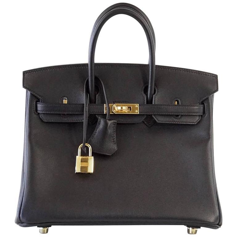935ad4debc06 HERMES BIRKIN Bag 25 Black Swift Leather Gold Hardware at 1stdibs