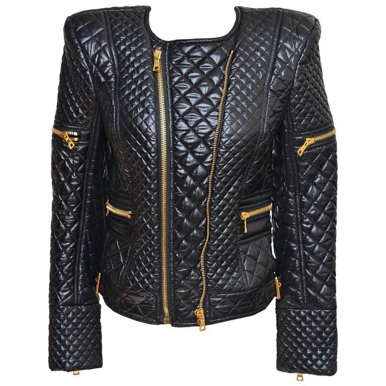 BALMAIN Black Quilted Techno Jacket Similar Seen On Beyonce And Nicki Minaj 40 For Sale