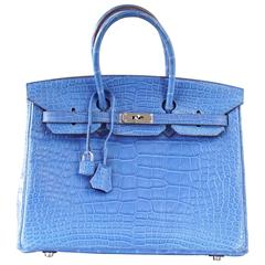 HERMES BIRKIN 35 Bag Mykonos Matte Alligator Palladium Hardware