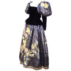 1980's Leonard Black Velvet &  Metallic Silk Evening Gown