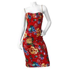1990s Dolce & Gabbana Cabbage Rose Bodycon Dress