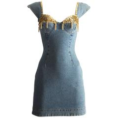 Katharine Hamnett denim mini dress with tassels, circa 1990s