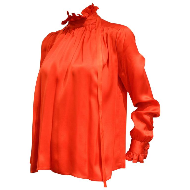 Gorgeous 1990s Chanel Vivid Red Silk Blouse 1