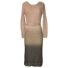 Missoni Pink and Silver Metallic Knit Midi Length Long Sleeve Pencil Dress