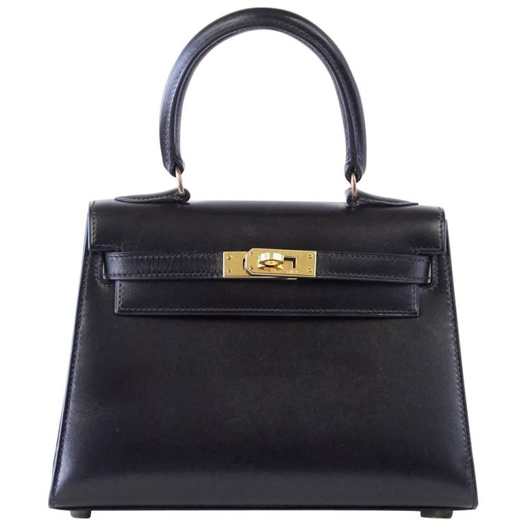 Hermes Kelly 20 Mini Vintage Kelly Sellier Box Leather Gold Hardware For Sale