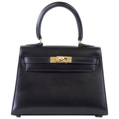 Hermes Kelly 20 Mini Vintage Kelly Sellier Box Leather Gold Hardware