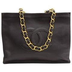 Chanel Vintage Black Caviar Chain Weekender Carryall Travel Shopper Tote Bag