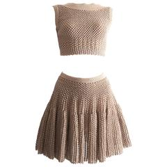 Alaia metallic lurex knit crop top and skater skirt evening ensemble