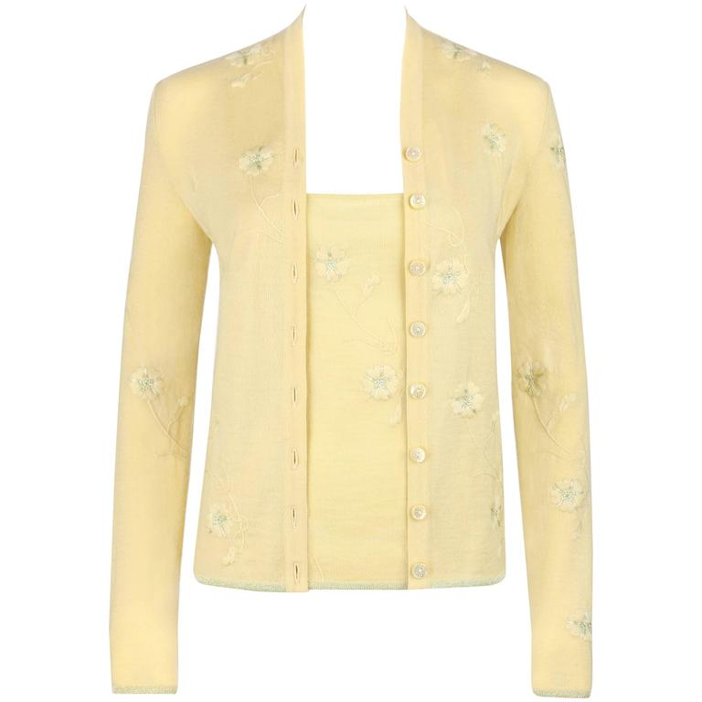 GIVENCHY Couture S/S 1998 ALEXANDER MCQUEEN Pale Yellow Floral Cardigan Top Set For Sale