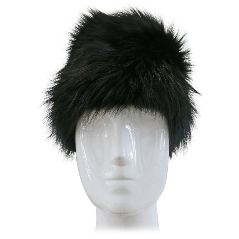 1970's Saks Fifth Avenue Black Fox Fur Hat  1