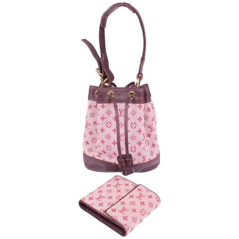 1c0a9a12b Louis Vuitton Cherry Monogram Canvas Mini Lin Noelie Bag & Wallet -  cerise/pink For