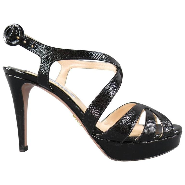 PRADA Size 7 Black Textured Patent Leather Strappy Platform Sandals 1