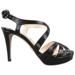 PRADA Size 7 Black Textured Patent Leather Strappy Platform Sandals