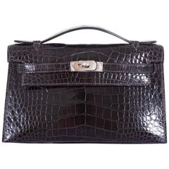 Hermes Kelly Pochette Clutch Graphite Alligator Palladium Hardware