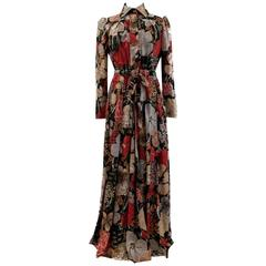1970s Jean Varon Wallpaper Floral Print Jersey Polyester & Lure Maxi Shirt Dress
