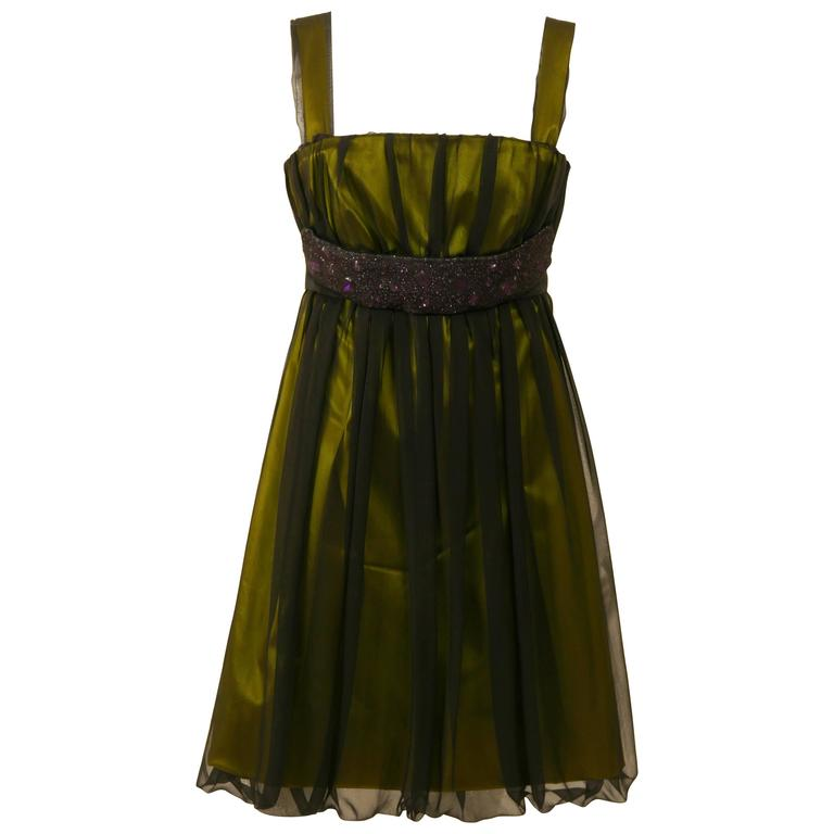 DOLCE & GABBANA Black Sheer and Green Satin Embroidered Cocktail Dress For Sale