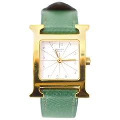 Hermes Vintrage Green Leather and Goldtone PM Heure H Watch