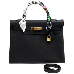 Hermès Black Togo 35 cm Kelly Bag with Gold Hardware