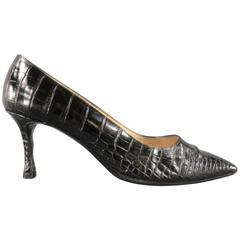 MANOLO BLAHNIK Size 8 Black Alligator Skin Leather Pointed Toe Pumps