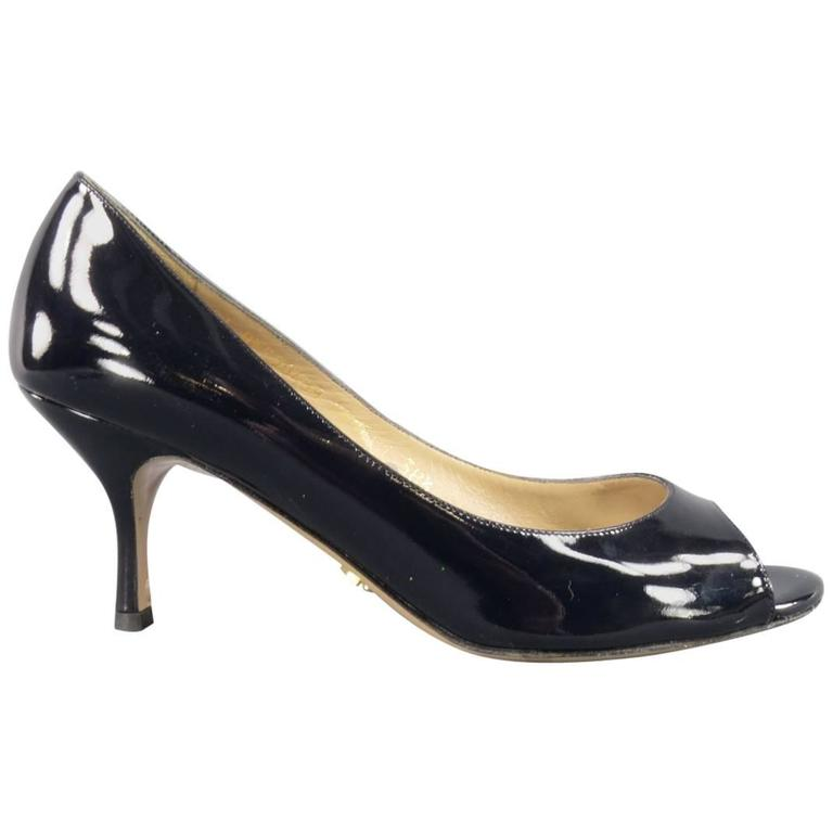 VALENTINO Size 8.5 Navy Patent Leather Peep Toe Pumps at ...