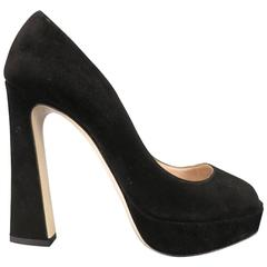 MIU MIU Size 9 Black Suede Peep Toe Platform Pumps
