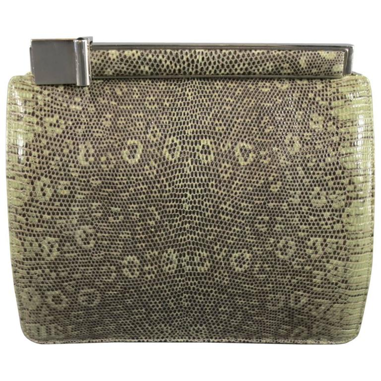 Vintage JUDITH LEIBER Light Green Snakeskin Leather Evening Handbag 1