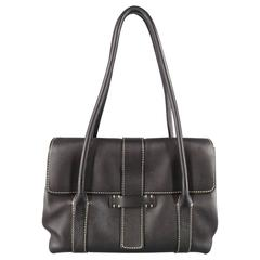 LORO PIANA Black Leather Contrast Stiching Dandy Shoulder Bag
