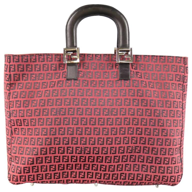 33cb15c908cfe Vintage FENDI Red   Black Monogram Canvas Leather Handle Tote Bag For Sale