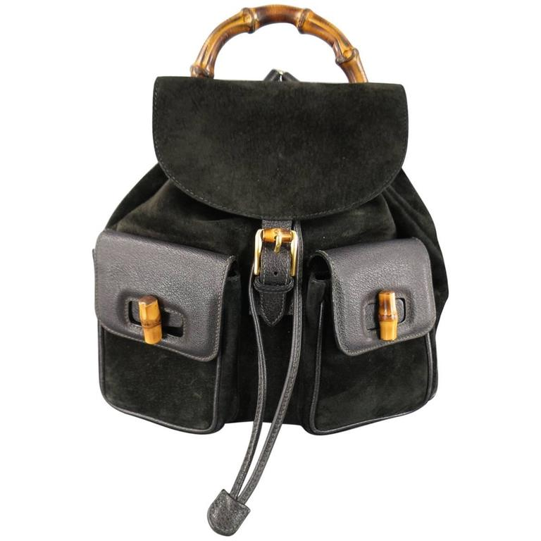 d7e81ba829a Vintage GUCCI Black Suede and Leather Bamboo Handle Backpack at 1stdibs