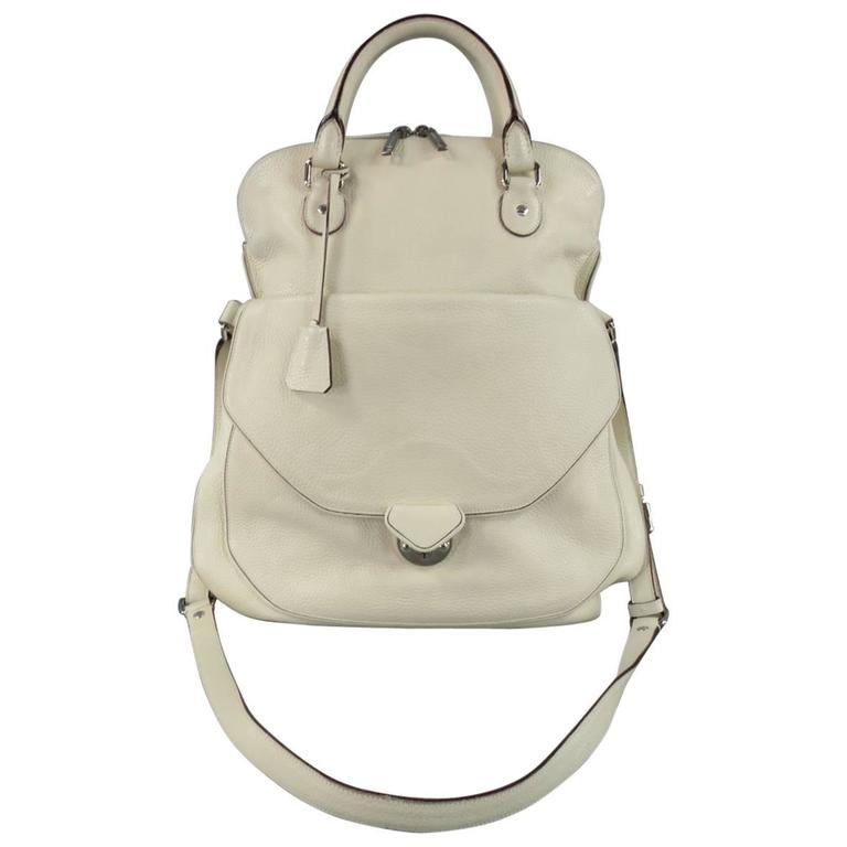 DOLCE & GABBANA Cream Textured Leather Miss Catch Fold Over Handbag For Sale