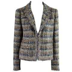 Chanel Metallic Multi-Color Tweed Jacket with Silver Buttons - 42 - 04A