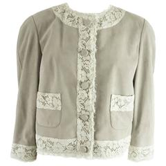 Dolce & Gabbana Gray Suede with Ivory Lace Trim Jacket - 42